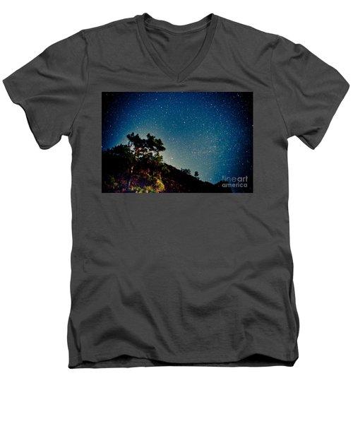Night Sky Scene With Pine And Stars Men's V-Neck T-Shirt