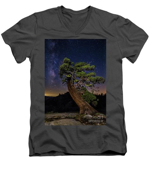 Men's V-Neck T-Shirt featuring the photograph Night Sky  by Vincent Bonafede