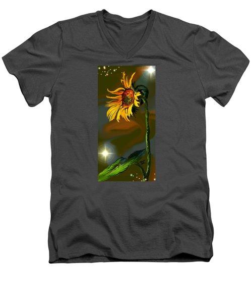 Men's V-Neck T-Shirt featuring the digital art Night Sunflower by Darren Cannell