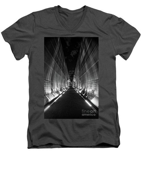 Night Time At Empty Sky Memorial Men's V-Neck T-Shirt by Nicki McManus