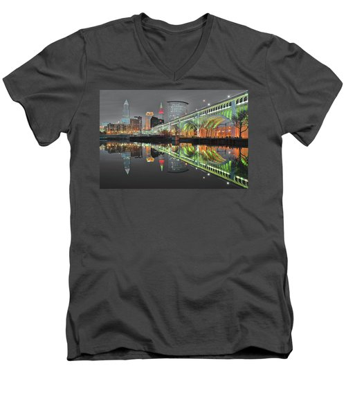Men's V-Neck T-Shirt featuring the photograph Night Time Glow by Frozen in Time Fine Art Photography