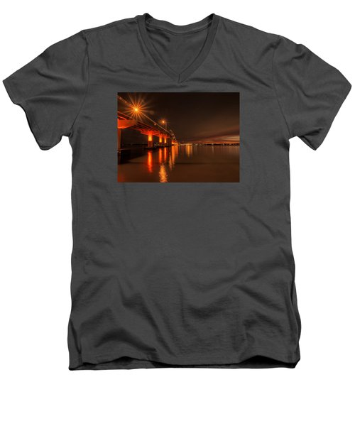Night Time Reflections At The Bridge Men's V-Neck T-Shirt by Dorothy Cunningham