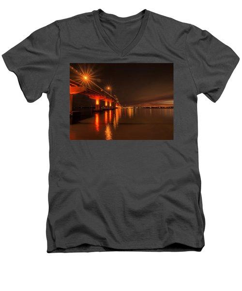 Night Time Reflections At The Bridge Men's V-Neck T-Shirt