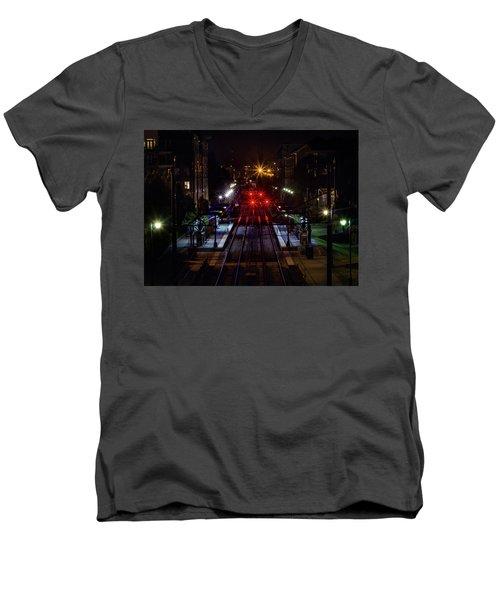 Night Tracks Men's V-Neck T-Shirt