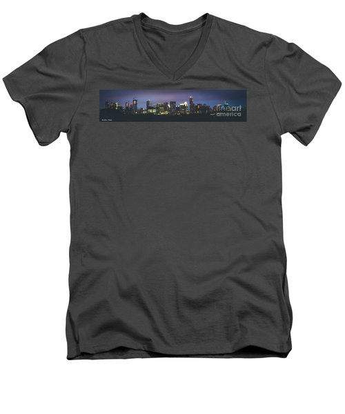 Night View Of Downtown Skyline In Winter Men's V-Neck T-Shirt