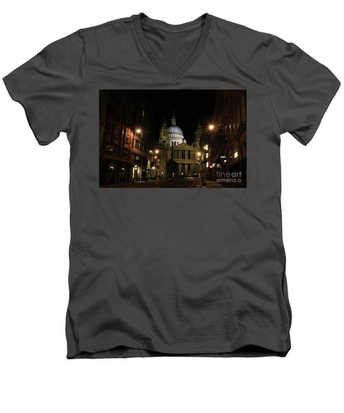 Night View Of St Pauls Cathedral  Men's V-Neck T-Shirt
