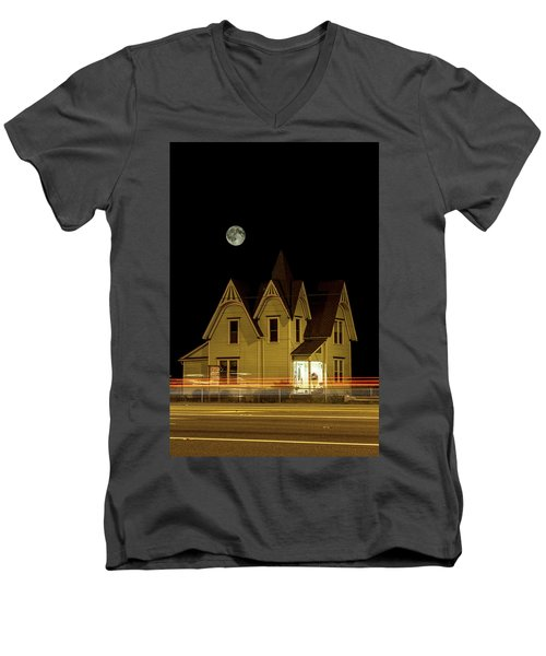 Night View Men's V-Neck T-Shirt by Tony Locke
