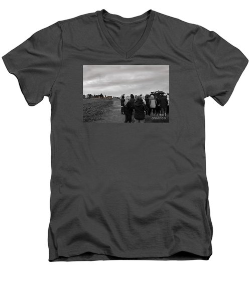 Night Vision Ghost Story In Bradgate Park. Men's V-Neck T-Shirt by Linsey Williams