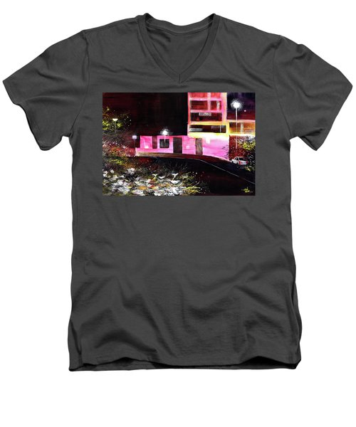 Men's V-Neck T-Shirt featuring the painting Night Walk by Anil Nene
