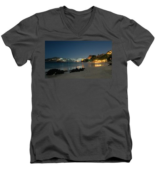 Men's V-Neck T-Shirt featuring the photograph Night Walk On La Ropa by Jim Walls PhotoArtist