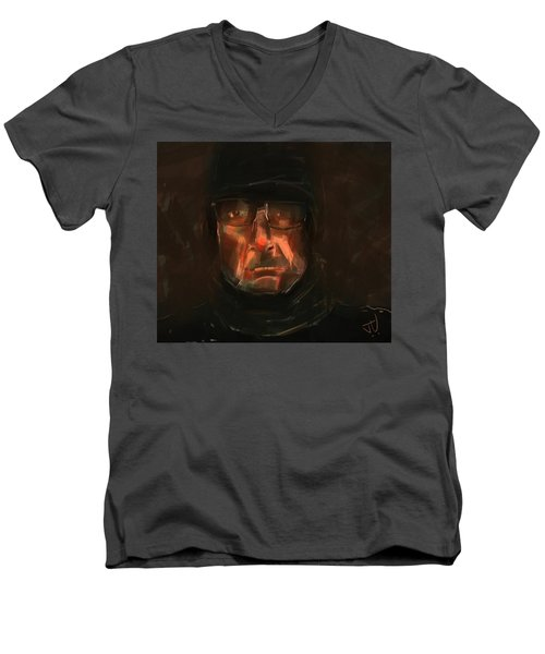 Men's V-Neck T-Shirt featuring the painting Night Watch by Jim Vance