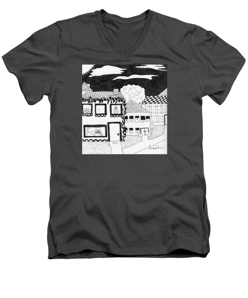 Men's V-Neck T-Shirt featuring the painting Night Watch by Lou Belcher