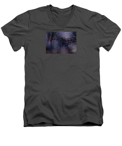 Nightfall In The Woods Men's V-Neck T-Shirt by Sandy Moulder