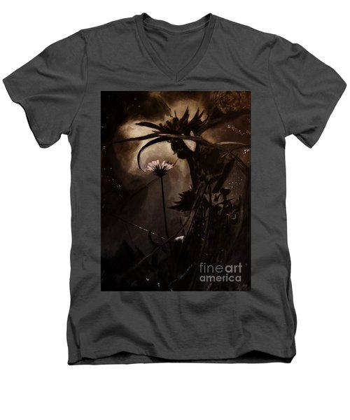 Men's V-Neck T-Shirt featuring the painting Nightflower by Vanessa Palomino