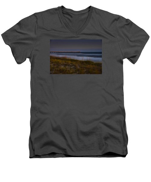 Men's V-Neck T-Shirt featuring the photograph Nightlife By The Sea by Renee Hardison