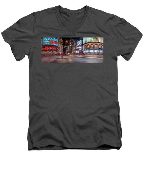 Nights On Broadway Men's V-Neck T-Shirt by Az Jackson