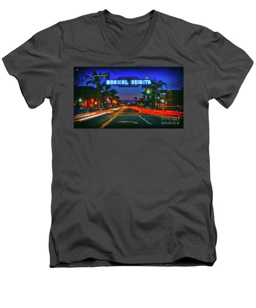 Nighttime Neon In Normal Heights, San Diego, California Men's V-Neck T-Shirt