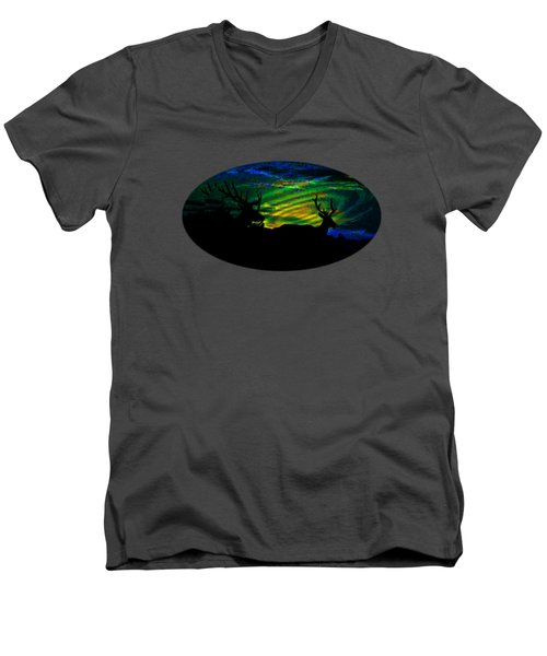 Men's V-Neck T-Shirt featuring the mixed media Nightwatch by Mike Breau
