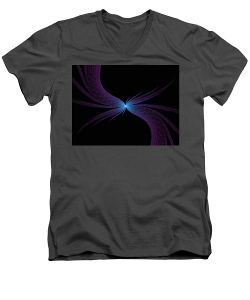 Men's V-Neck T-Shirt featuring the digital art Nightwing by Lea Wiggins