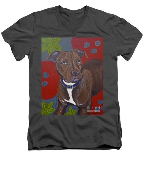 Men's V-Neck T-Shirt featuring the painting Niko The Pit Bull by Ania M Milo