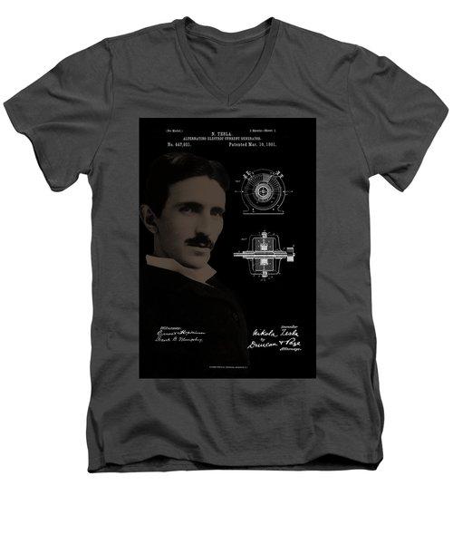 Nikola Tesla Patent Drawing Men's V-Neck T-Shirt