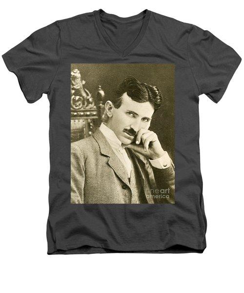 Nikola Tesla, Serbian-american Inventor Men's V-Neck T-Shirt
