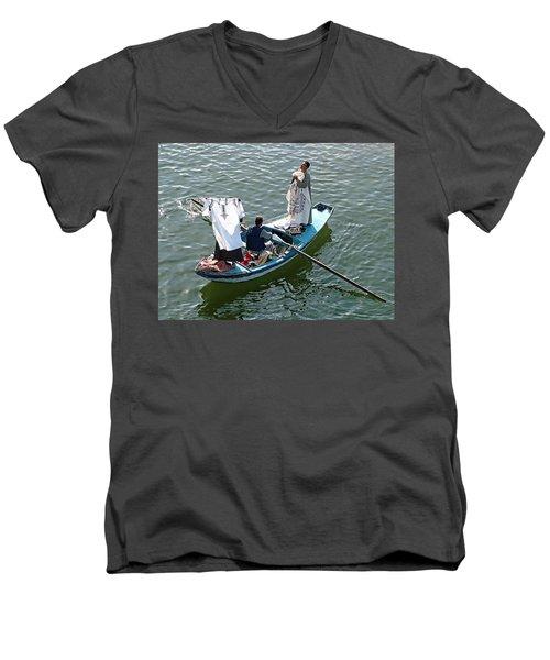Nile River Merchants Men's V-Neck T-Shirt by Joseph Hendrix
