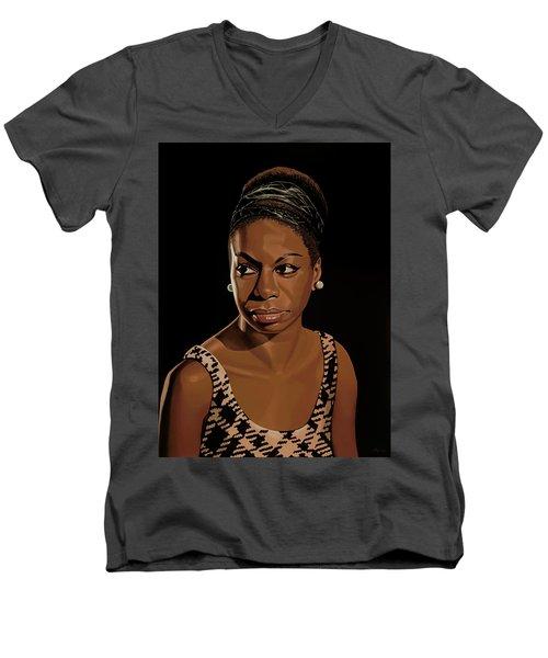 Nina Simone Painting 2 Men's V-Neck T-Shirt by Paul Meijering