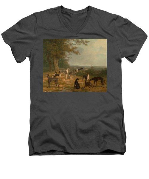 Nine Greyhounds In A Landscape Men's V-Neck T-Shirt