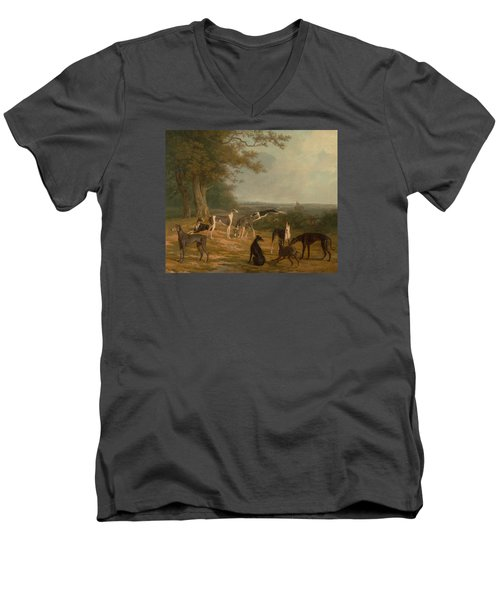Nine Greyhounds In A Landscape Men's V-Neck T-Shirt