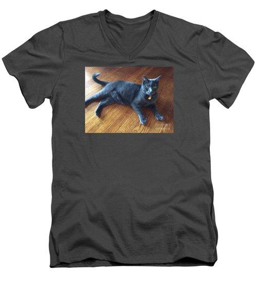 Nine Lives  Men's V-Neck T-Shirt by Susan Carella