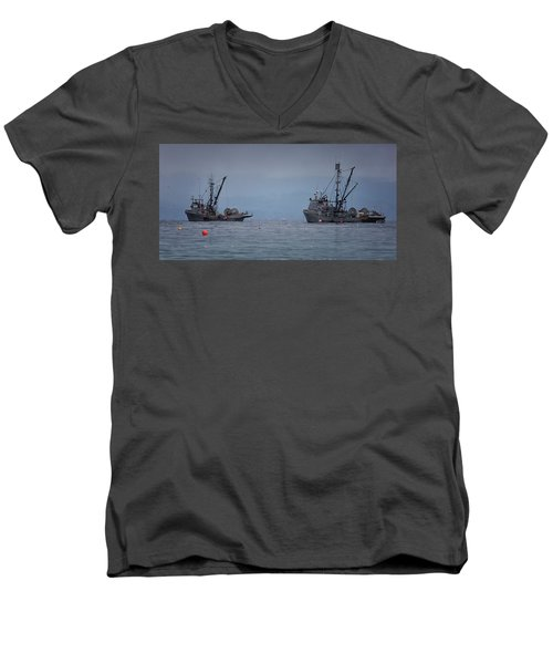 Men's V-Neck T-Shirt featuring the photograph Nita Dawn And Cape George by Randy Hall