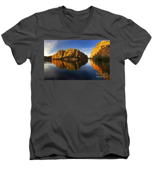 Nitimiluk Men's V-Neck T-Shirt by Bill Robinson