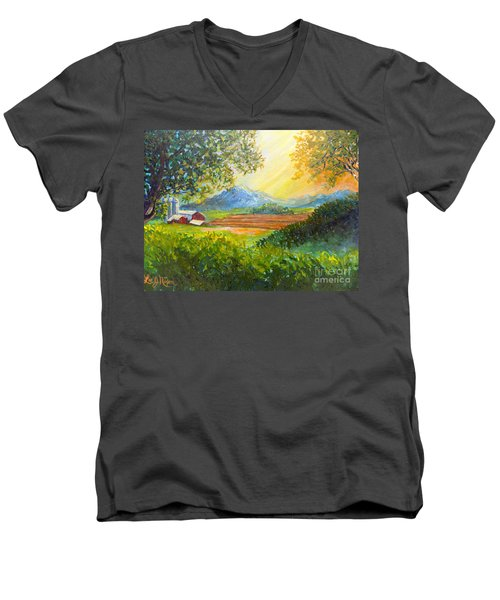 Men's V-Neck T-Shirt featuring the painting Nixon's Majestic Farm View by Lee Nixon