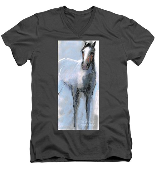 Men's V-Neck T-Shirt featuring the drawing Nm Sketch Bw by Frances Marino