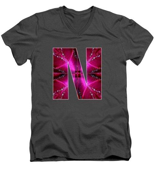 Nnn Nn N  Alpha Art On Shirts Alphabets Initials   Shirts Jersey T-shirts V-neck By Navinjoshi Men's V-Neck T-Shirt by Navin Joshi