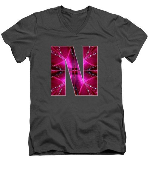 Nnn Nn N  Alpha Art On Shirts Alphabets Initials   Shirts Jersey T-shirts V-neck By Navinjoshi Men's V-Neck T-Shirt