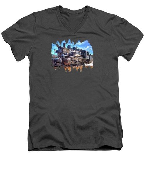 No. 25 Steam Locomotive Men's V-Neck T-Shirt by Thom Zehrfeld