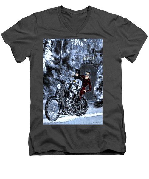 Men's V-Neck T-Shirt featuring the drawing No Cat Woman..this Is Not A Date by Pennie McCracken
