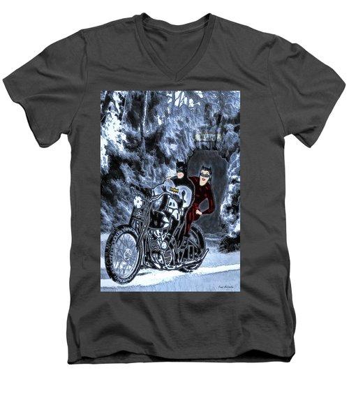 No Cat Woman..this Is Not A Date Men's V-Neck T-Shirt by Pennie McCracken