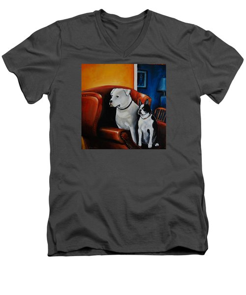 No Dogs On The Furniture Men's V-Neck T-Shirt by Jean Cormier