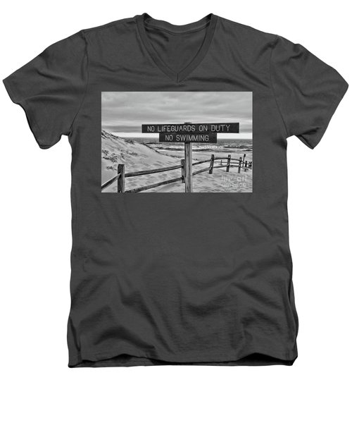 Men's V-Neck T-Shirt featuring the photograph No Lifeguards On Duty Black And White by Paul Ward
