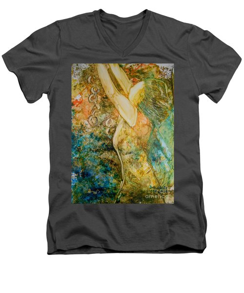 Men's V-Neck T-Shirt featuring the painting No Longer A Slave To Fear by Deborah Nell