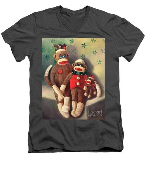 No Monkey Business Here 2 Men's V-Neck T-Shirt
