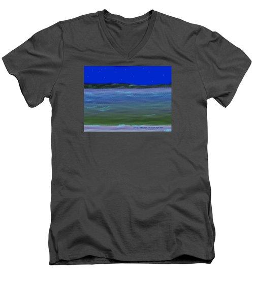 Men's V-Neck T-Shirt featuring the digital art No Moon Night Sea by Dr Loifer Vladimir