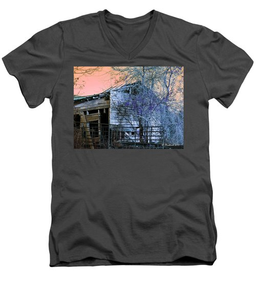 Men's V-Neck T-Shirt featuring the photograph No Ordinary Barn by Betty Northcutt