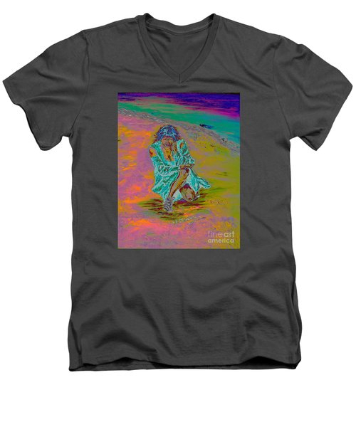 Men's V-Neck T-Shirt featuring the painting No Surrender by Loredana Messina