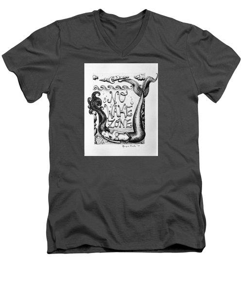 No Wake Zone, Mermaid Men's V-Neck T-Shirt