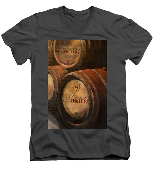 No Wine Before It's Time - Barrels-chateau Meichtry Men's V-Neck T-Shirt by Jan Dappen