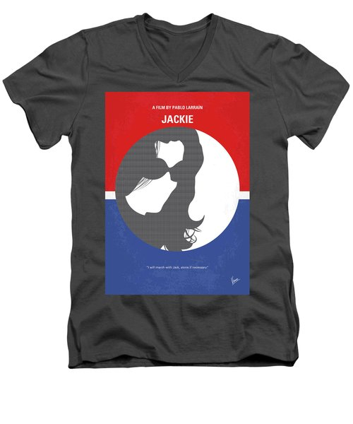 Men's V-Neck T-Shirt featuring the digital art No755 My Jackie Minimal Movie Poster by Chungkong Art